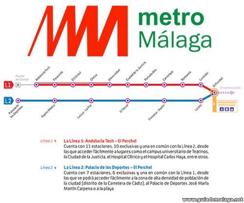 Logotipo y Líneas del Metro de Málaga.